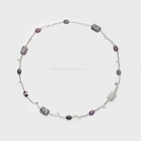 Бусы из натурального кварца, кристаллов и бисера. Артикул 12497