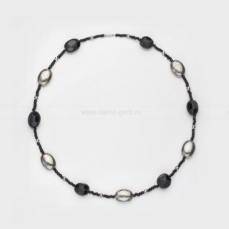 Ожерелье из черного агата и бисера. Артикул 12498