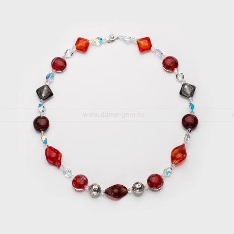 Ожерелье из муранского стекла и кристалов