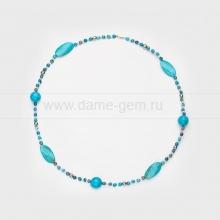 Ожерелье из голубой бирюзы и бисера. Артикул 12500
