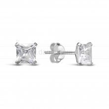 Серьги-гвоздики из серебра, украшенные кубиком циркония. Артикул 12501