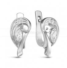 Серьги из серебра, украшенные фианитами. Артикул 12520