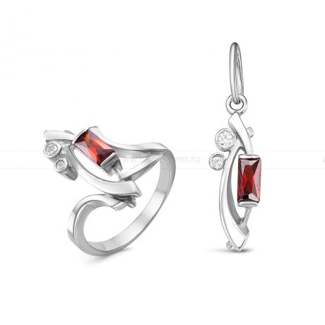 Комплект из серебра. Кольцо и кулон. Артикул 12525