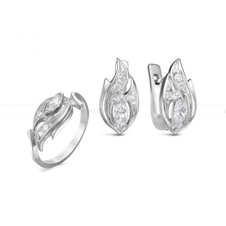 Комплект из серебра. Серьги и кольцо. Артикул 12528
