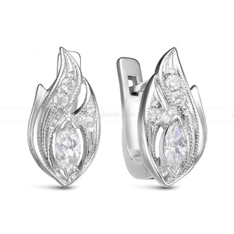 Серьги из серебра, украшенные фианитами. Артикул 12529