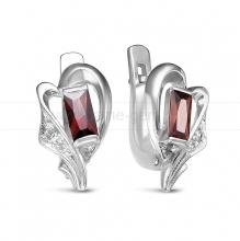 Серьги из серебра, украшенные фианитами. Артикул 12531