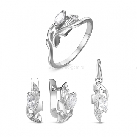 Комплект из серебра. Серьги, кольцо и кулон. Артикул 12533