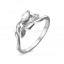 Кольцо из серебра, украшенное фианитами. Артикул 12534