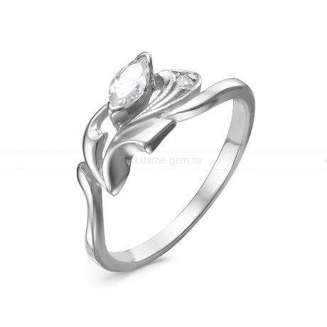 Кольцо из серебра 925 пробы, украшенное фианитами. Артикул 12534