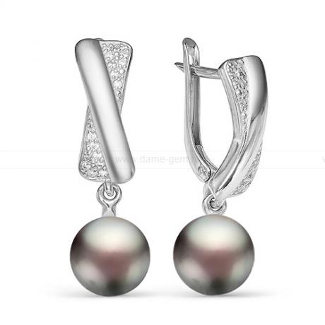 Серьги из серебра с черными жемчужинами 9,5-10 мм. Артикул 12554