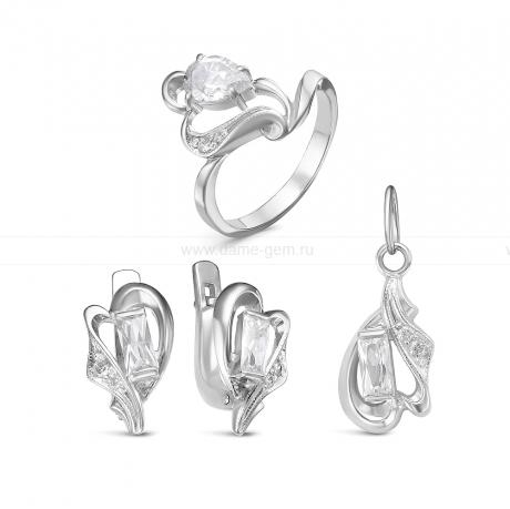 Комплект из серебра 925 пробы с фианитами. Серьги, кольцо и кулон. Артикул 12567