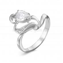Кольцо из серебра 925 пробы, украшенное фианитами. Артикул 12568