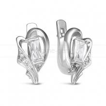 Серьги из серебра 925 пробы, украшенные фианитами. Артикул 12569