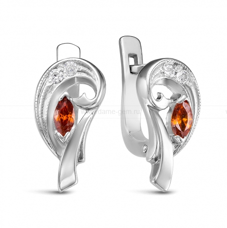 Серьги из серебра 925 пробы, украшенные красными фианитами. Артикул 12574