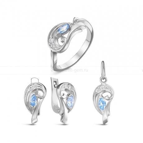 Комплект из серебра 925 пробы с фианитами. Серьги, кольцо и кулон. Артикул 12576