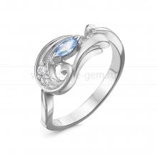 Кольцо из серебра 925 пробы, украшенное голубыми фианитами. Артикул 12577