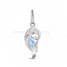 Кулон из серебра 925 пробы, украшенный голубыми фианитами. Артикул 12578