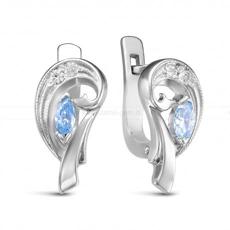 Серьги из серебра 925 пробы, украшенные фианитами. Артикул 12579
