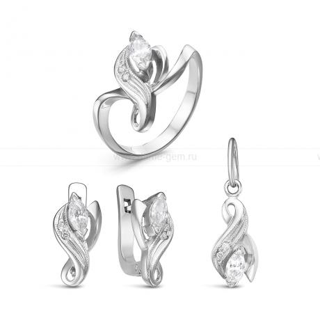 Комплект из серебра 925 пробы с фианитами. Серьги, кольцо и кулон. Артикул 12580