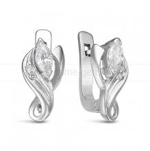 Серьги из серебра 925 пробы, украшенные фианитами. Артикул 12582