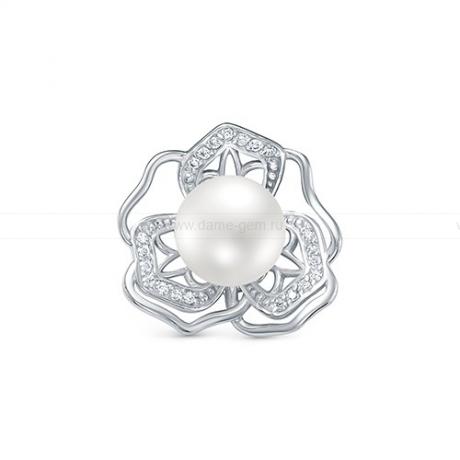 Кулон из серебра с речной белой жемчужиной 9,5-10 мм. Артикул 12584