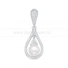 Кулон из серебра с белой речной жемчужиной 7 мм. Артикул 12585