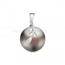 Кулон из серебра с черной барочной жемчужиной 15 мм. Артикул 12586