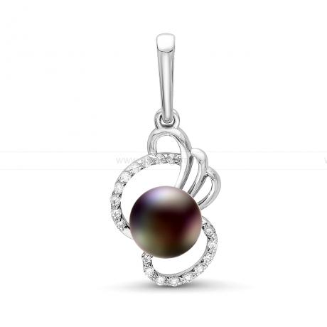 Кулон из серебра с черной пресноводной жемчужиной 7-7,5 мм. Артикул 12590