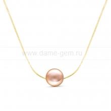 Цепочка из желтого золота с розовой морской жемчужиной 8,7 мм. Артикул 12592