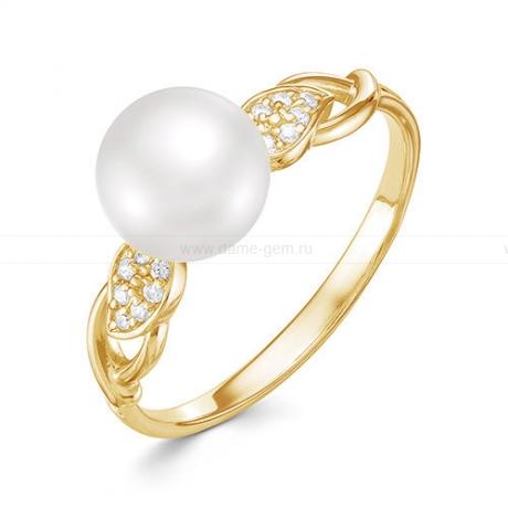 Кольцо из желтого золота с белой жемчужиной 9,5-10 мм. Артикул 12593