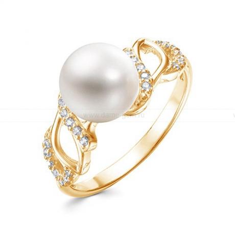 Кольцо из желтого золота с белой жемчужиной 8,5-9 мм. Артикул 12594