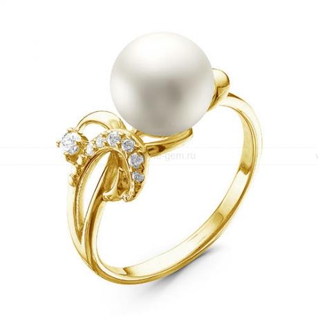 Кольцо из желтого золота с белой жемчужиной 8,5-9 мм. Артикул 12595