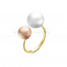 """Двойное кольцо """"Dior"""" с белой и розовой жемчужиной 7-10 мм. Артикул 12596"""