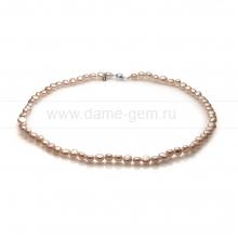 Ожерелье из розового барочного речного жемчуга 5-5,5 мм. Артикул 12601