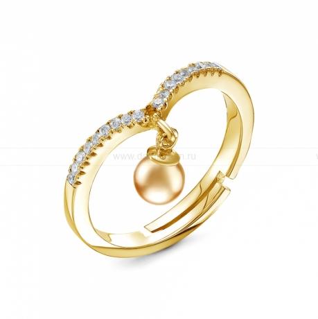 Кольцо из желтого золота с золотистой жемчужиной Акойя 8-8,5 мм. Артикул 12612