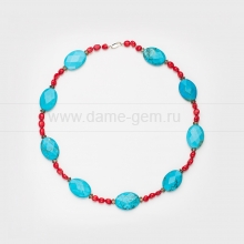 Ожерелье из бирюзы, коралла и раухтопаза. Артикул 12623