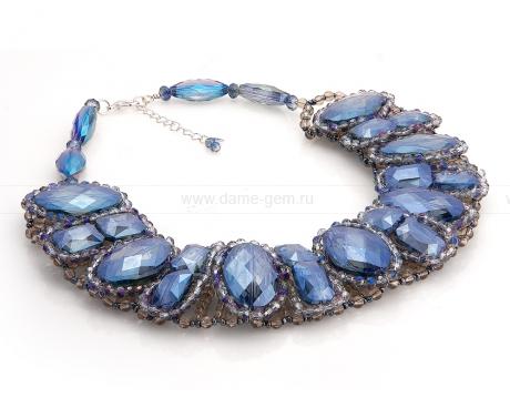 Ожерелье из кристаллов и бисера. Артикул 12524