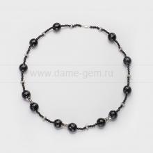 Ожерелье из черного агата со вставками из сплава. Артикул 12626