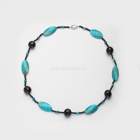Ожерелье из бирюзы и черного агата. Артикул 12634