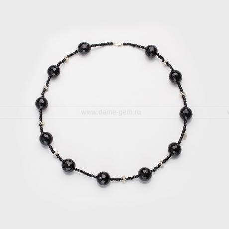 Ожерелье из черного агата со вставками из сплава. Артикул 12641