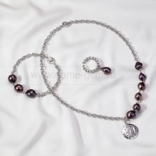 Комплект из черного барочного жемчуга, украшенный цепями из сплава. Артикул 12655