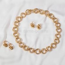 Комплект из бижутерного сплава с покрытием золото. Артикул 12656