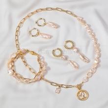 Комплект с цепями из розового барочного жемчуга 10 мм. Артикул 12661