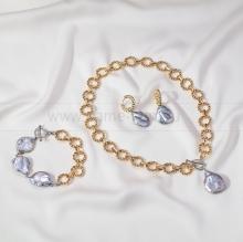 Комплект с серебристыми барочными жемчужинами 19 мм. Артикул 12665
