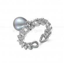 Кольцо из бижутерного сплава с серебристой жемчужиной 9-10 мм. Артикул 12710