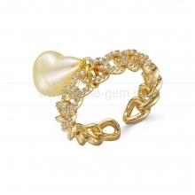 Кольцо из бижутерного сплава с золотистой жемчужиной 8-10 мм. Артикул 12728