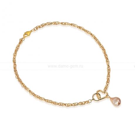 Колье из бижутерного сплава с золотистой жемчужиной 8-12 мм. Артикул 12729