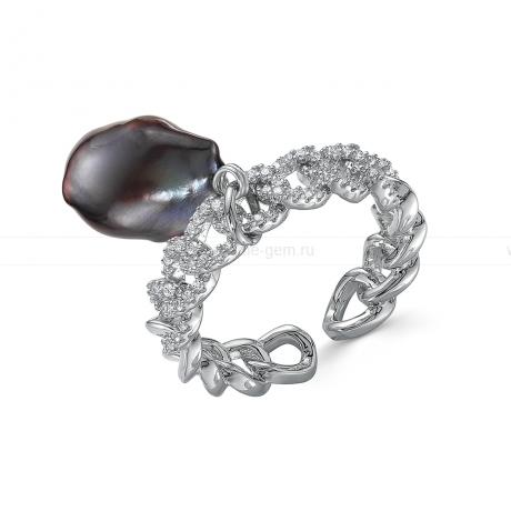 Кольцо из бижутерного сплава с черной жемчужиной 11-12 мм. Артикул 12762