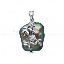 Кулон из серебра с черной барочной жемчужиной 18 мм. Артикул 12763