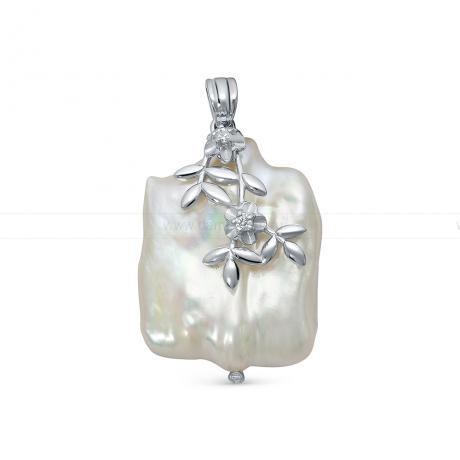 Кулон из серебра с белой барочной жемчужиной 20 мм. Артикул 12764